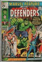 Marvel Comics The Defenders #1 Origin The Sub-Mariner, Hulk, Dr. Strange '71 VG-
