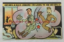Vintage Postcard WWII Linen Hitler He Has A Kick Coming War Time Comic PC