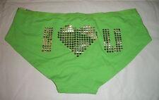 723  Xhilaration Cabana Green I <3 love U Low Rise Hipster Panties L