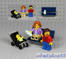 LEGO - Dad, Mom & Baby w/ Stroller Minifigure Combo - Bottle Family Park Bench
