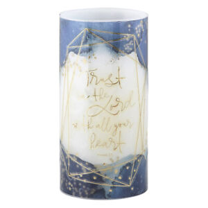 Led 8' Decorative Pillar Candle Trust in the Lord with All Your Heart