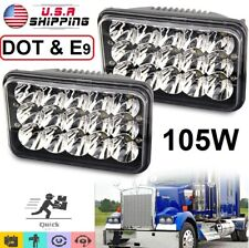 "Set 4x6"" Led Headlights DOT Approved 105W Sealed For Ford Chevrolet GMC Kenworth"