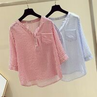 Womens Long Sleeve V-Neck Loose Tops T Shirt Ladies Striped Casual Button Blouse