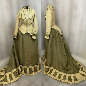 1900s Victorian 2PC Dress-Ivory/Green Vintage Gown Edwardian 1910s Small