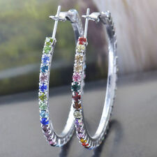 Great New 9K Silver White Gold Filled Multi-Color Crystal CZ Round Hoop Earrings