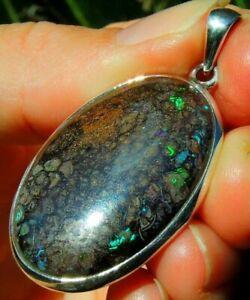 Australian Boulder Opal Pendant Queensland Gemstone Sterling Silver 925 Fossil