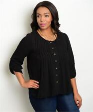 NEW..Stylish Plus Size Black Pintuck Front Blouse..SZ16/2XL