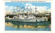 Portsmouth VA-US NAVY SUBMARINE CHASERS-NAVY YARD-Postcard Military Ship
