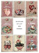 Valentine vintage inspired set of of 8 small cards with envelopes