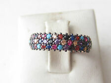 925 Sterling Silver Rose Gold Plt Turquoise Multistone 3 Row Band Ring Size 6