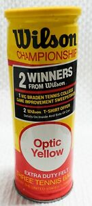 VINTAGE Wilson Tennis Balls In Unopened Can - Optic Yellow Championship USA