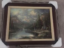 "Thomas Kinkade Mountain Majesty 380/710 P/P Framed Signed COA  25.5""X34"" Canvas"