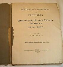 JAMES OF CULGARTH, WEST AUCKLAND, & BARROCK PEDIGREE GENEAOLOGY 1914 HERALDRY