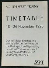 SouthWest Trains Timetable 18-26 Nov 1995 During Major Engineering Works