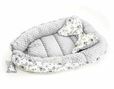 2 tlg.(SET) Kuschelnest Babynest Nestchen Reisebett  Baumwolle/Minky Vogel grau