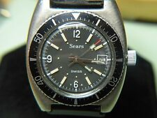 RARE & VINTAGE SEARS DIVER SWISS WATCH W/DATE JUST GORGEOUS A MUST SEE!!!