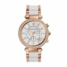 Michael Kors Women's MK5774 Parker Rose Tone and White Watch