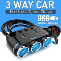 3 Way Multi Car Cigarette Socket Lighter Splitter Dual USB Charger Power Adapter
