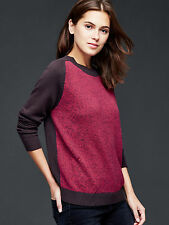GAP Women Sweater Sz M Marled Front Colorblock Red Brown Long Sleeve Crew Neck