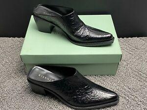 Vintage Gianni Bini Womens Slip On Mules Shoes Black Boots Size 8.5 Medium