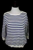 womens blue striped RALPH LAUREN pullover sweater knit mercerized cotton PLUS 3X