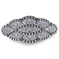 BA62 Clear Crystal Rhinestone Purple Painted Vintage Alloy Barrette Hair Clip