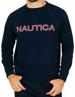 Nautica Mens Sweatshirt, Crew Neck Fleece Sweatshirt, Navy, Grey, Red, S, M
