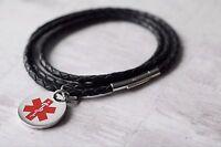 Girls, Womens, MEDICAL Alert LIFE SAVING SOS Leather BRACELET - FREE ENGRAVING