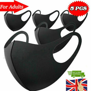 5x Face Mask Washable UK Reusable Masks Mouth Nose Breathable Protection Cover