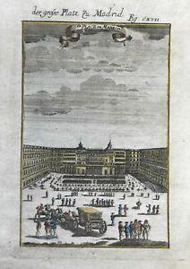 Spain Plaza Mayor Madrid carriage tents 1719 Mallet bird's eye view print