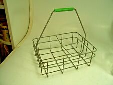 Vtg Wire Milkman Dairy Milk Bottle Carrier holds 4 half gallon bottles
