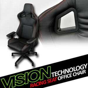 Black With Red Stitches Pvc Leather MU Racing Bucket Seat Game Office Chair Vl12