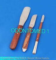 Set of 3 Dental Plaster Wax Knife & Alginate Mixing Spatulas Dental Instruments