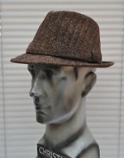 Men's Brown Tweed Snap Brim Trilby, 57cm, Country Classic, Vintage Style.