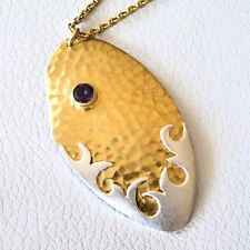 Heather Benjamin Sea Adventure Leaf Pendant Necklace 22k Gold Sterling 16.75""