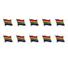 "LOT OF 10 RAINBOW FLAG LAPEL PINS 0.5"" Gay Lesbian Pride LGBT Tie Tack Badge Pin"