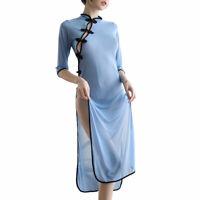 Women Cheongsam High Side Split Sheer Midi Dress Transparent Mesh Nightdress