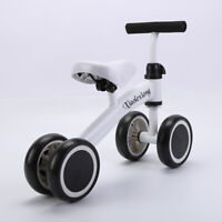 White Kids Balance Bike Toddler Push Scooter Baby Walker Tricycle 4 Wheels Toy