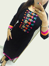 Selfie Style- Trendy Rayon  Cotton  Embroidary Neck Work Kurti Blak