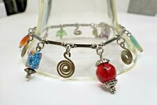 Clay, & Brass Anklet A15) Treska Pretty Glass,