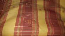 YELLOW GOLD ORANGE PLAID CHECK WOVEN COTTON UPHOLSTERY FABRIC
