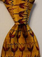 ERMENEGILDO ZEGNA Mens 100% Silk Necktie ITALY Luxury FLORAL Yellow/Red/Blue GUC