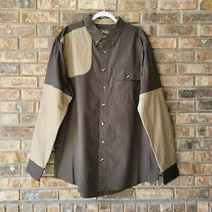 Cabela's Classic Hunting Shooting Shirt XLT Tall Patch Khaki Brown NEW