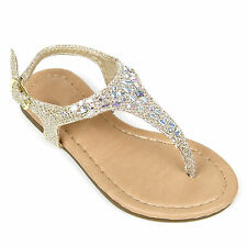 NEW Girls T-Strap Thong Strappy Braided Flat Flip Flop Kids Sandals