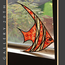 MID CENTURY MODERN TRANSLUCENT FISH WALL ART! Atomic Orange Wood 50s Sculpture