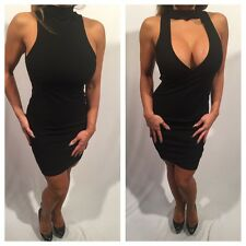 Connie's (reversable) Black Mock Neck Mini Dress Or Mock Neck Open chest Mini  L
