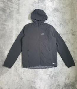 Men's Salomon Drifter Mid Hoodie Reversible Jacket Black size MEDIUM