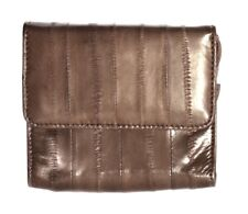 Lee Sands Eelskin Cocoa Coin Purse with ID Window, Key Ring and Mirror