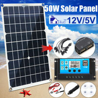 50W 12V Dual USB Solar Panel Battery Charger Car Boat W/ 10In1