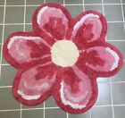 Vintage Chenille Bath Mat ~ Pink Flower w/ Pale Yellow Center ~ MCM